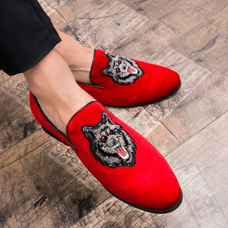 Cajacky Men Red Loafers Wolf Gentleman Loafers Luxury Brand Dress ... b375775fbd73