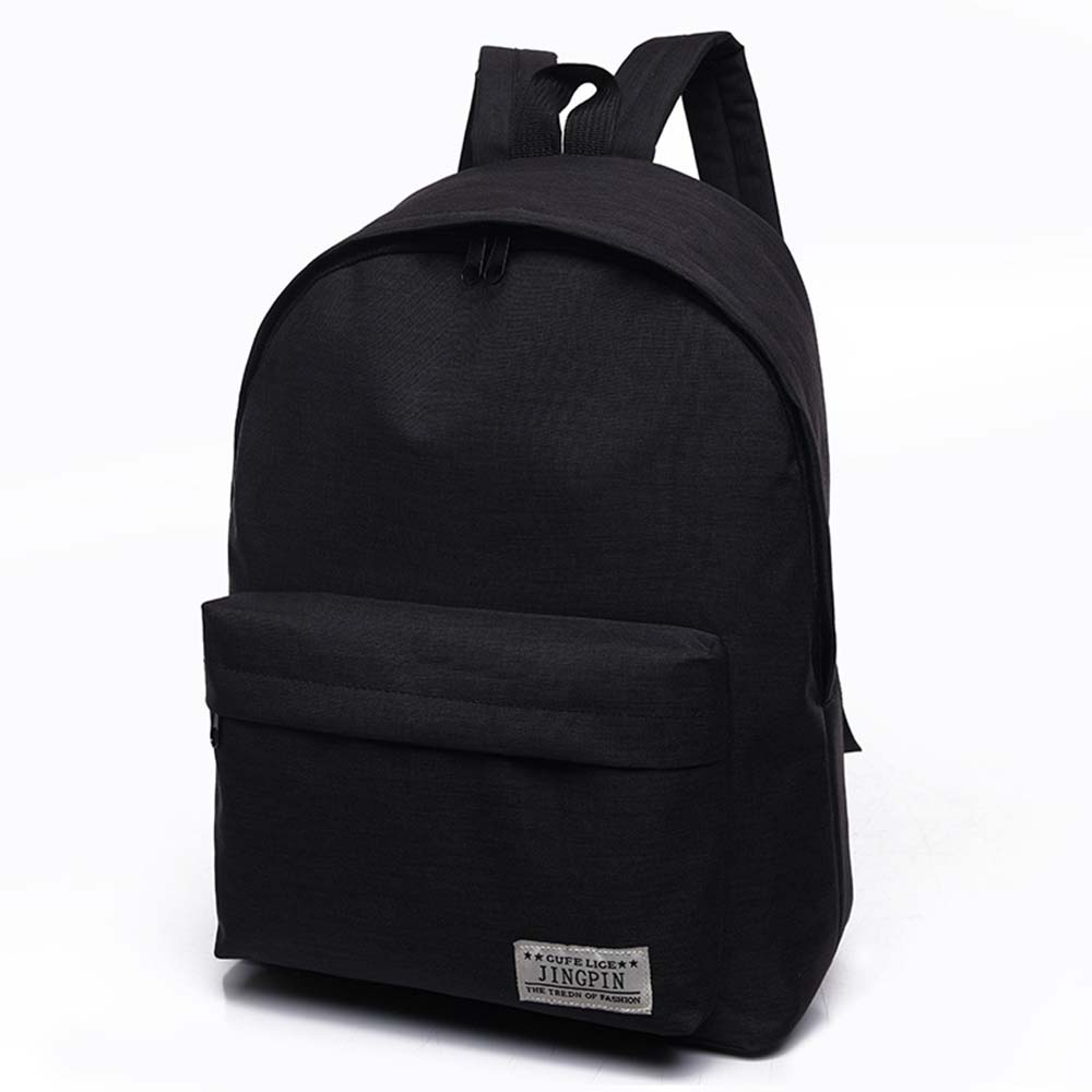 Black Backpack Canvas Teenagers Casual Rucksack College School Student Mochila Male