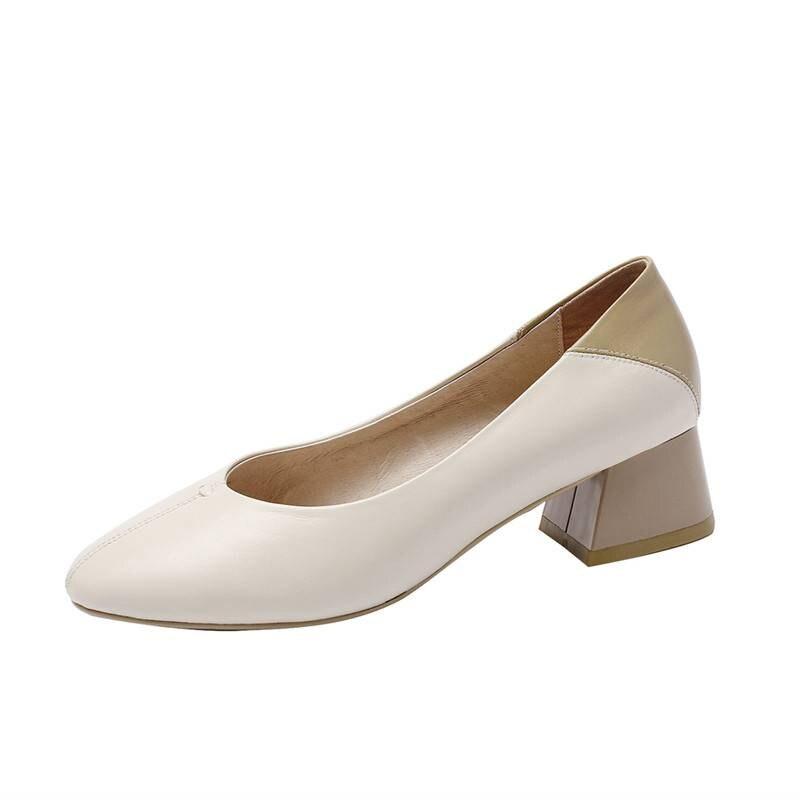 apricot Lujo Tacón Nueva Mezclados Colores Zapatos Brown Genuino Cuero Superficial Las L65 En Deslizamiento Pista Grueso Dedo Moda Del Light Cuadrado De 2019 Pie Diarios Mujeres Xx44P