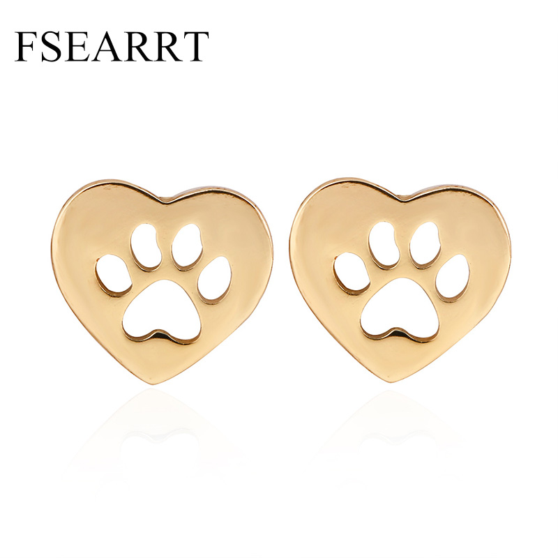 Cute Dog Cat Paw Stud Earrings For Women Men Girls Hollow Animal Footprint Pendientes Brincos Trendy Jewelry Gold Silver Plated