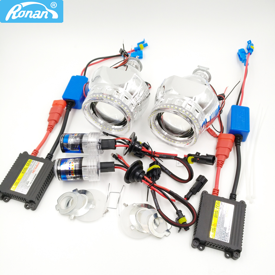 RONAN MINI H1 Bi Xenon Projector Farol lente final LED 3528SMD Angel eyes CNlight xenon kit Retrofit car styling H4 H7