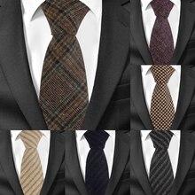 Новые шерстяные узкие галстуки, шерстяной галстук для мужчин, костюмы для мужчин, клетчатый полосатый галстук для шеи, галстуки для бизнеса, 7 см ширина, галстуки для жениха