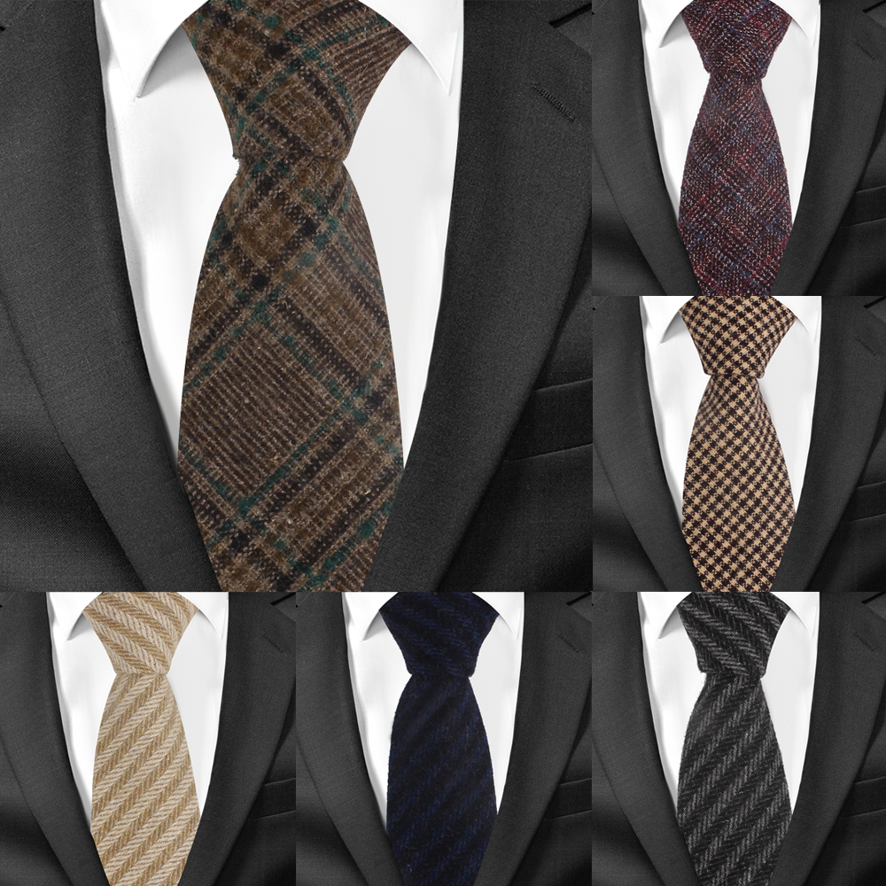 New Wool Ties Skinny Woolen Necktie For Men Suits Mens Plaid Striped Neck Tie For Business Cravats 7cm Width Groom Neckties