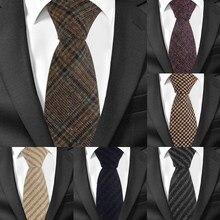 Gravata de lã xadrez listrada, novas gravatas de lã skinny com 7cm de largura, para homens de negócios gravatas de noivo