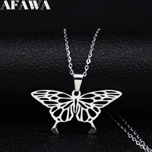 2019 Fashion Stainless Steel Necklaces for Women Butterfly & Pendants Jewelry collar acero inoxidable mujer N19252