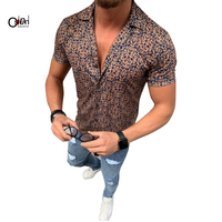 Osunlin Men's Shirt Casual Short Sleeve Single Breasted Shirts Male Lapel Floral Print Open Stitch Loose Shirts Camisa Masculina