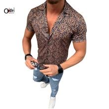 Osunlin Men's Shirt Casual Short Sleeve Single Breasted Shir