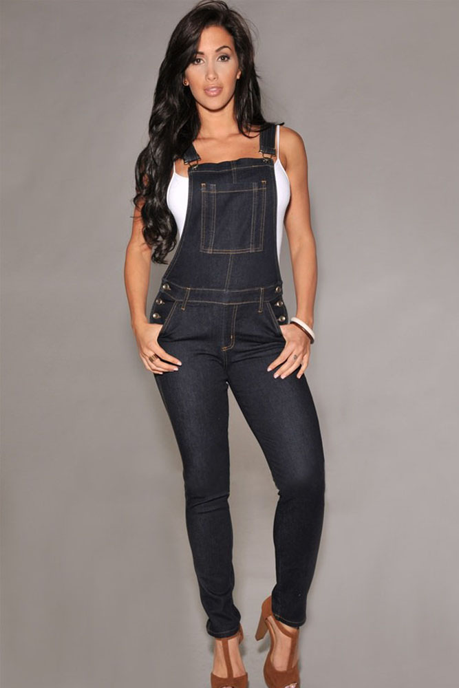 Popular Black Overalls Denim Jumpsuits Rompers-Buy Cheap Black ...