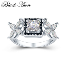 [BLACK AWN] Wedding Rings for Women 3.5g 925 Sterling Silver Jewelry Engagement Ring Black&White Stone Bague C413