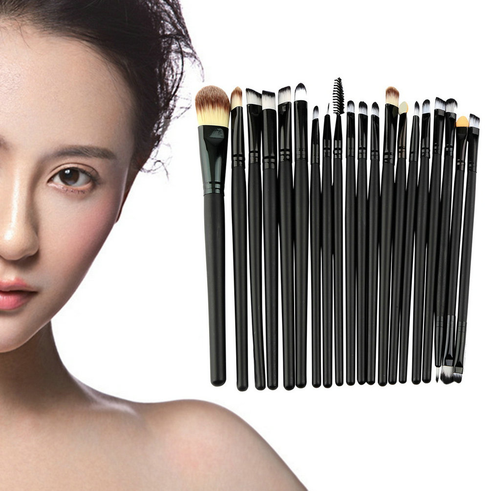 Hot Selling 20 Pcs Makeup Powder Foundation Eyeshadow Eyeliner Lip Cosmetic Brushes Set Beauty Accessories floral lace panel tunic t shirt