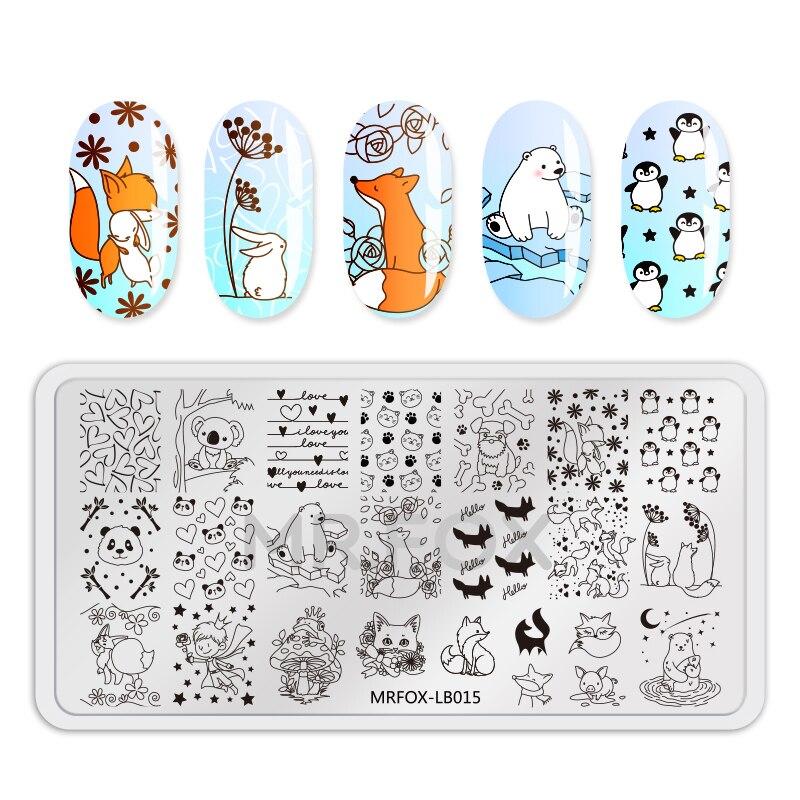 1 pc Nail Art Stamping Plates New Chegou Flores Bonito Pinguim Fox Verão Oceano Imagem Stamping Nail Art Template Manicure placa