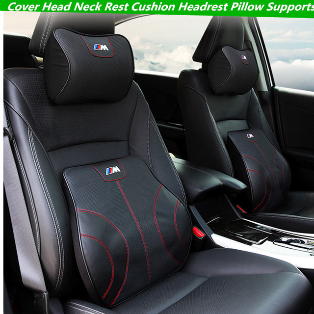 For Car BMW M Leather Neck Super Soft Memory Foam Auto Seat Cover Head Neck Rest Cushion Headrest Supports