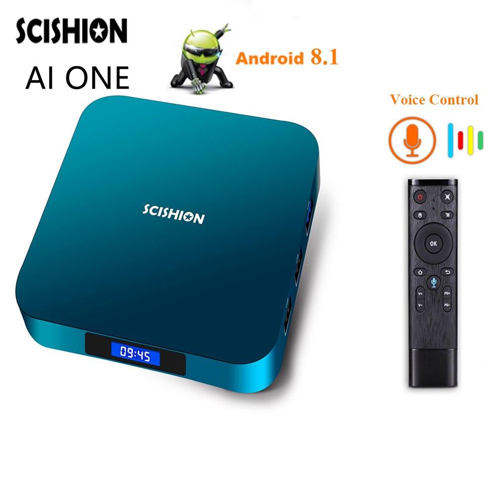 Android 8.1 SCISHION AI ONE Smart TV Box Rockchip3328 2G 16G 4G 32G 2.4G WiFi USB3.0 Voice Control Media Player Set-top BoxAndroid 8.1 SCISHION AI ONE Smart TV Box Rockchip3328 2G 16G 4G 32G 2.4G WiFi USB3.0 Voice Control Media Player Set-top Box