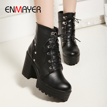 ENMAYER Round Toe Square Heel Lace-Up Rivet Motorcycle Boots Mid-Calf High PU Womens Short Plush Women Shoes Furry