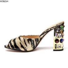 Leopard Sandals Women Shoes 2019 Luxury Designer Crystal High Heels Peep Toe Rhinestone Sandals Ladies wedding Shoes Woman цена 2017