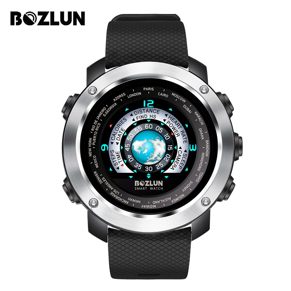 Galleria fotografica Bozlun Men <font><b>SmartWatch</b></font> Sport Smart Watch Bluetooth IP67 Waterproof Heart Rate Call Reminder Speed Calorie Smartwatches Male Clock