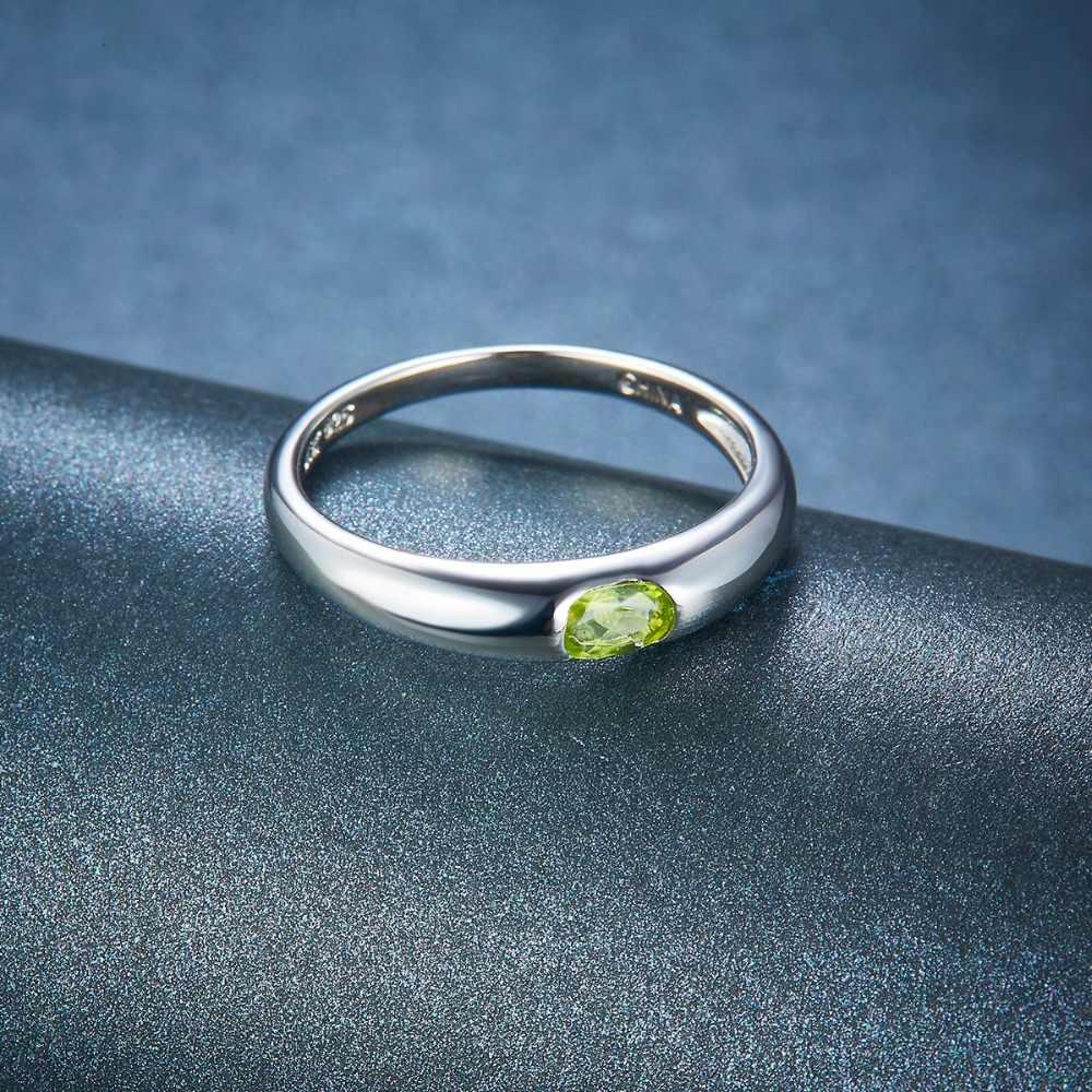 Hutang สตรีแต่งงานแหวน Peridot สีเขียวพลอย 925 เงินสเตอร์ลิงวงแหวนหาง Fine เครื่องประดับ Elegant ใหม่มาถึง