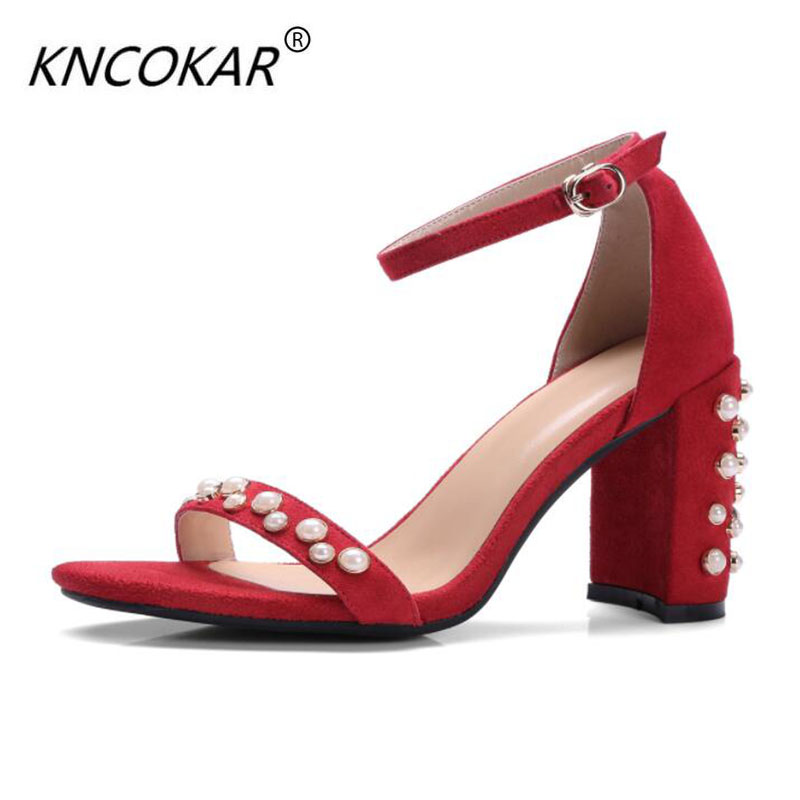 new style of the 2017 summer fashion statement sandals pearl 10CM heel thick heel a pair of riveted jewelled women's sandals