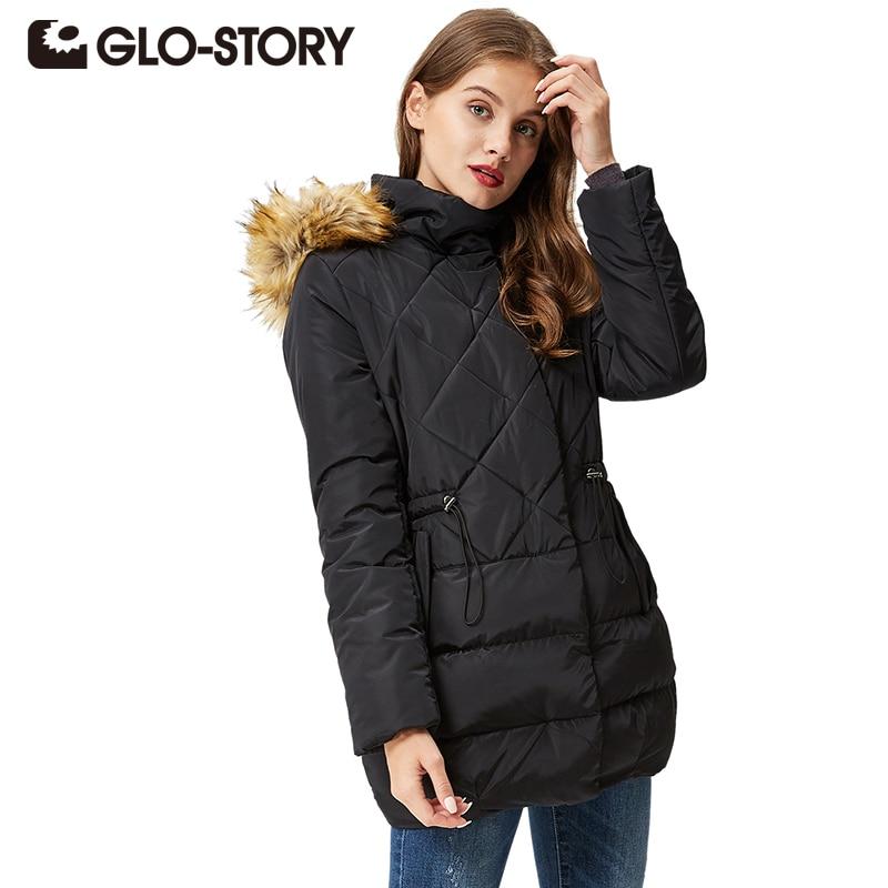 GLO-STORY Women's Winter Black Down Jacket Coat Casual Long Women Parkas High Quality Female Hooded Winter Parka Coats WMA-3235
