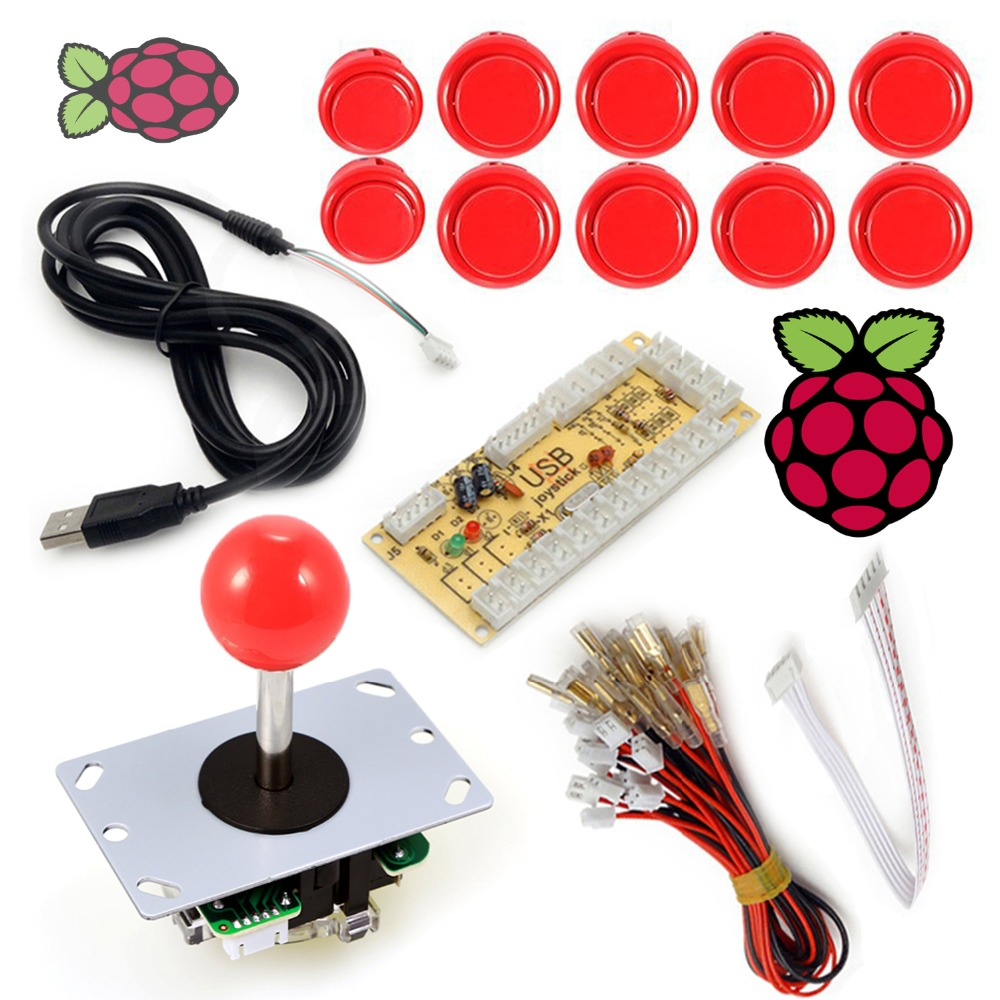 Arcade Raspberry Pi 1 2 3 Project Arcade Push Buttons + 5 Pin Arcade Stick + USB Encoder ...