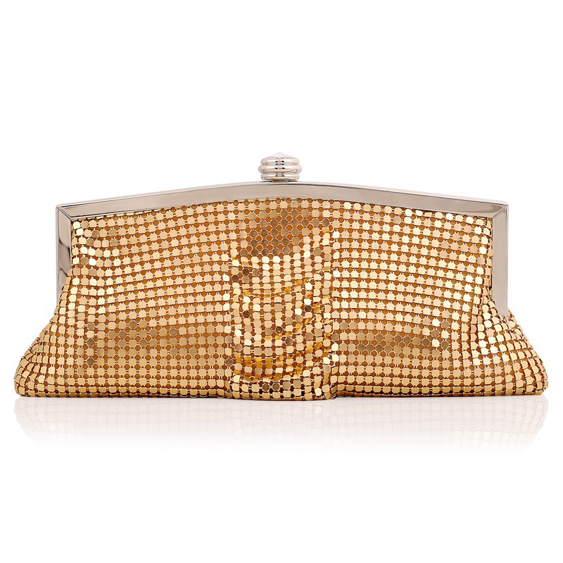 Elegant Evening Clutch with Thousands of Sequins, Day Clutch with Detachable Chain, Messenger Bag