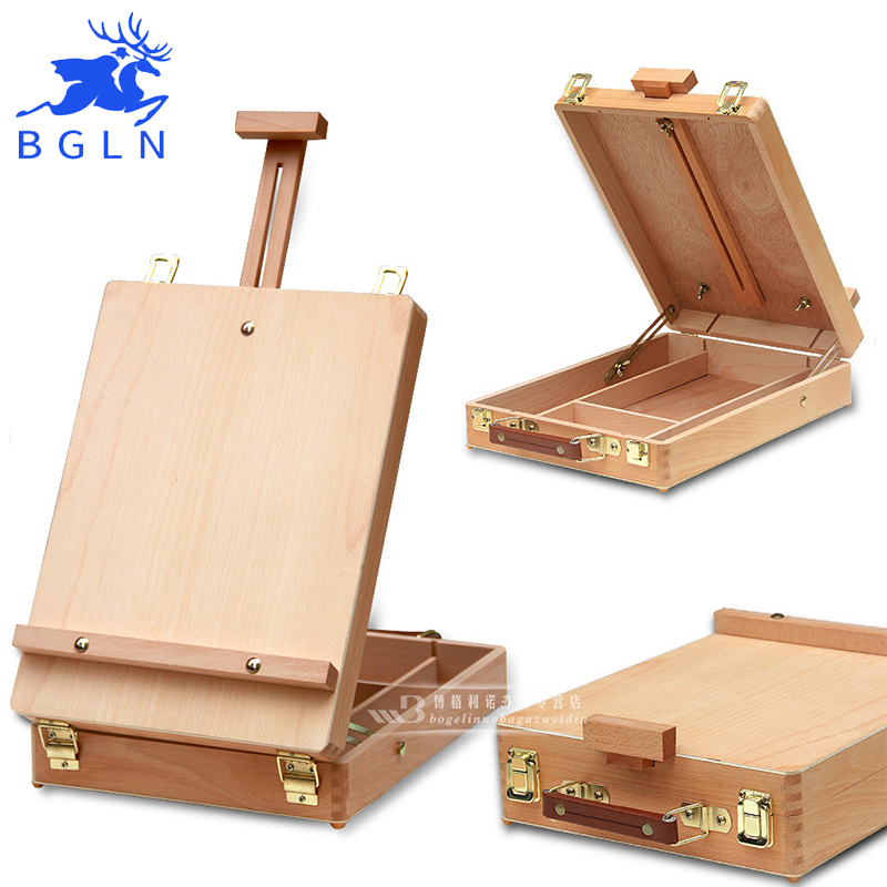BGLN Fillet Desktop Caballete Box Easel Painting Hardware Accessories Multifunctional Oil Paint Suitcase Box Art Supplies