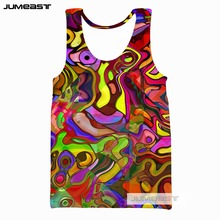 Jumeast Brand Psychedelic Abstract 3d Print Men/Women Tank Tops Colorful Totems Pattern Tee Sleeveless Unisex Simple Line Robot men abstract animal print tee