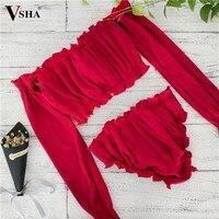 VSHA סטרפלס ביקיני נשים חיצוני אדום & שחור קיץ חוף בגד ים בגדי ים ילדה שמש ביקיני רחצה ללבוש מודל ברזילאי