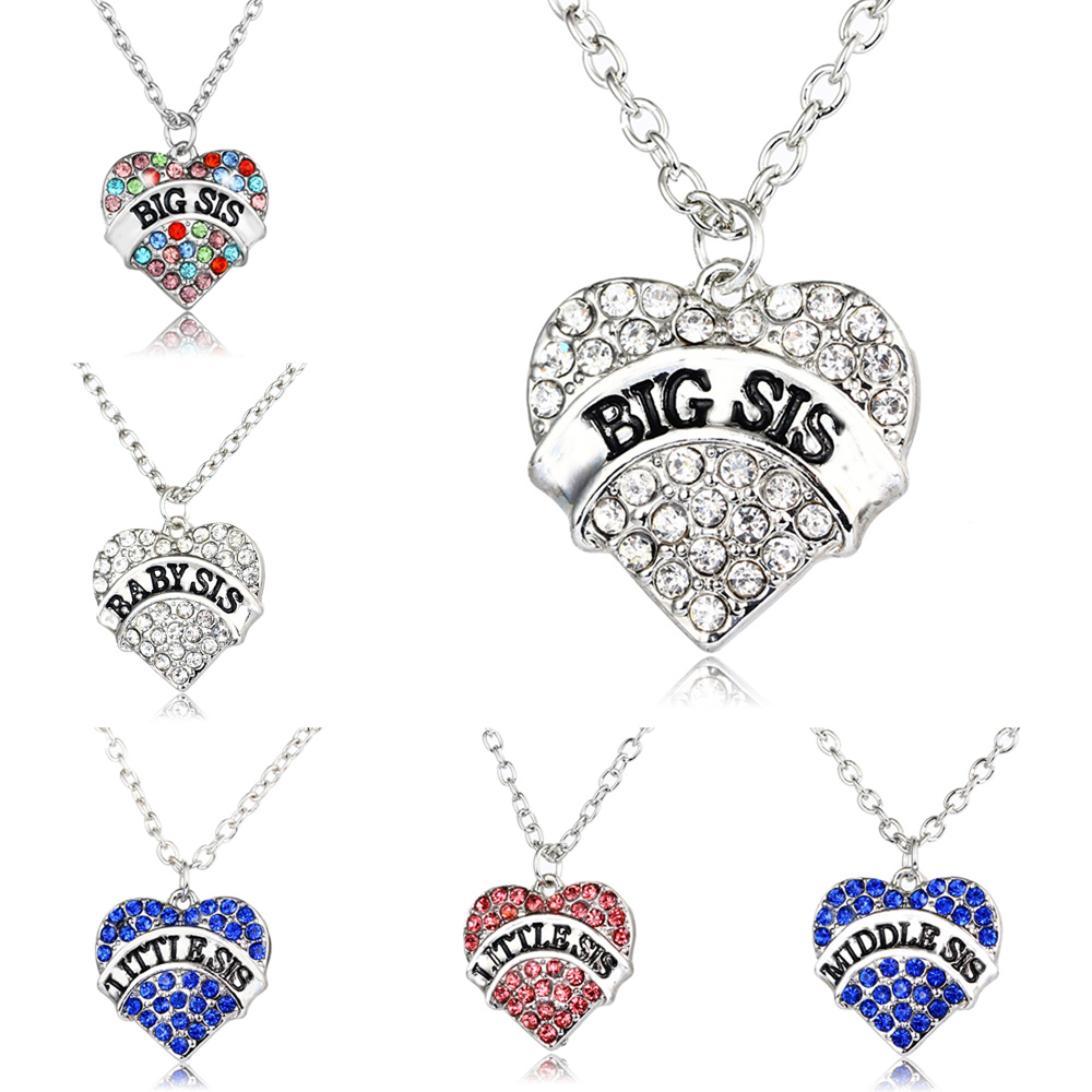 4 Colors Pink Clear Blue Heart Crystal Baby Little Middle Big Sis Sister Pendant Necklace Family Women Girls Jewelry Choker Gift