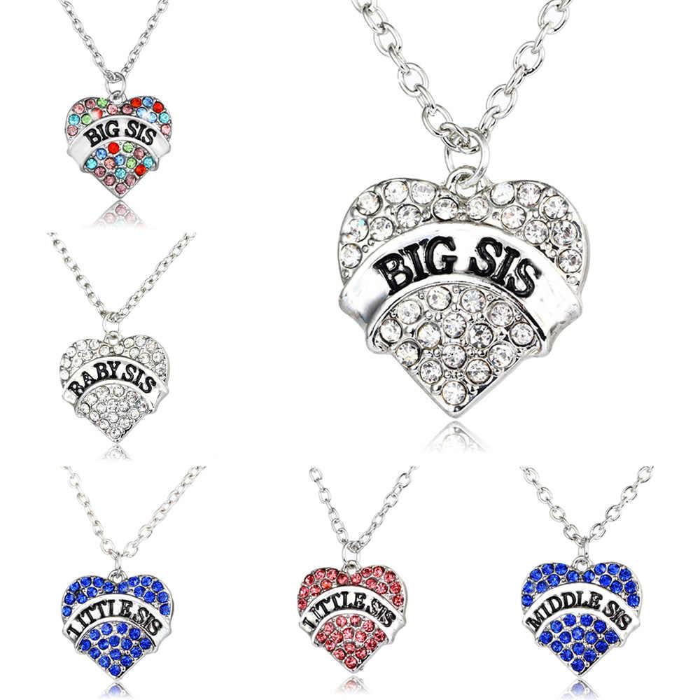 4 kolory różowy przezroczystą niebieską kryształ w kształcie serca dziecko mały środkowy starsza siostro siostra naszyjnik rodzina kobiety biżuteria dziewczęca Choker prezent