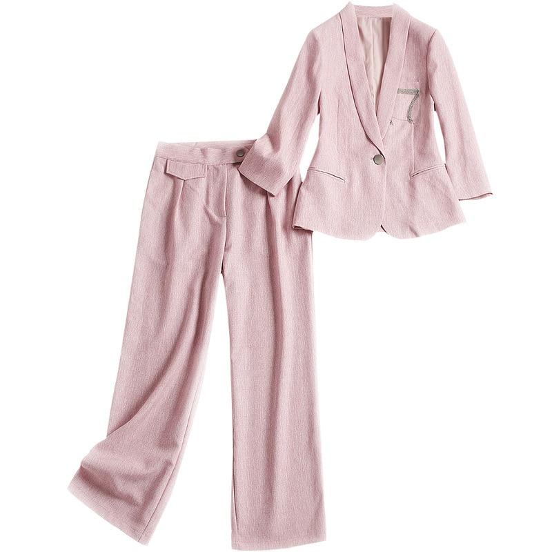 Linge De Gris Nouveau Européen pièce Costume Automne Pantalons Dame Haut 4949 2018 Américain rose Gamme Ensemble Femmes Et Deux Des Blazers Mode Bureau ECxwSzqv1C