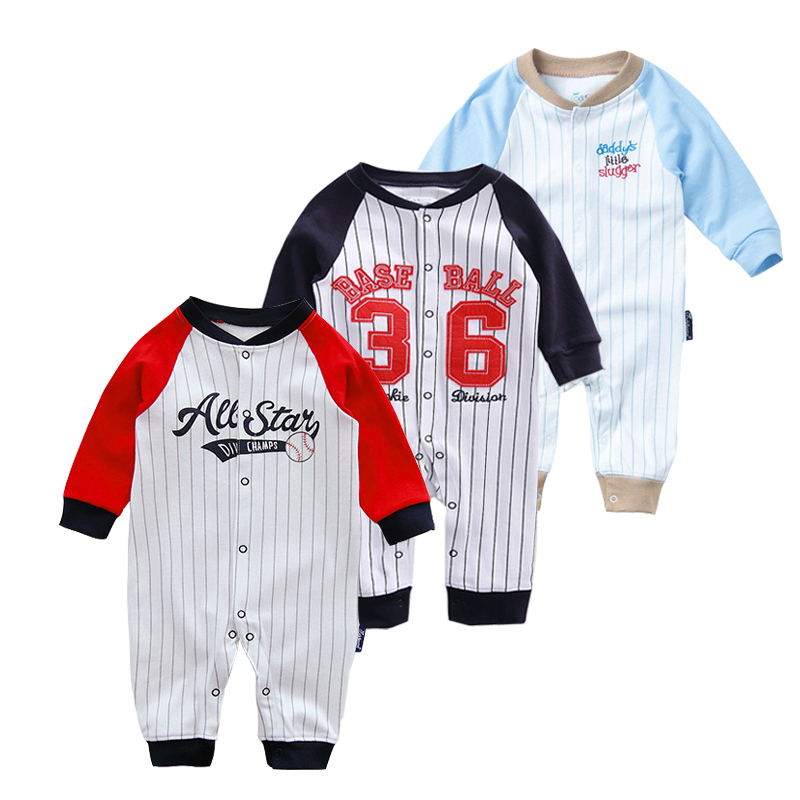 New Born Baby 0-3-6month Rompers Spring Autuwn Kids Clothing Baseball Style Baby Jumpsuit Cotton Long Sleeves Jumper For Boys random stripe pattern long sleeves high neck jumper page 3