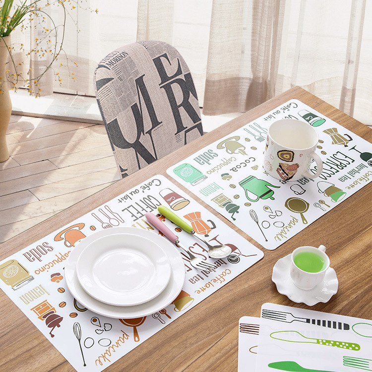 4/6/8PCS Four colors Plastic Dining Table Placemats Cartoon Refrigerator Pad Creative Waterproof Heat-resistant Bowl Pot Pads