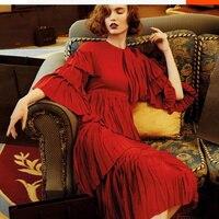 Nieuwe item leuke dame zomer dress 2017 hot red dress hoge kwaliteit vintage lolita chiffon ruches lange dress