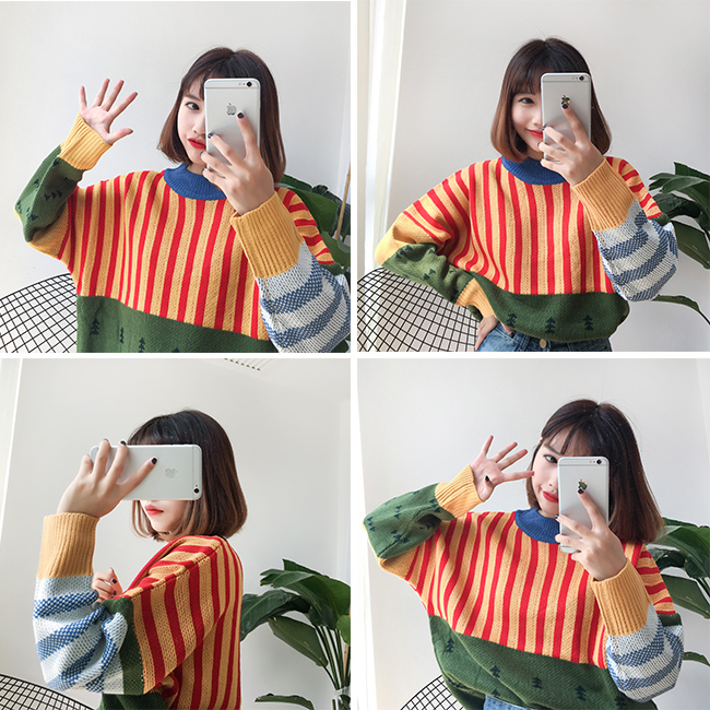 Image 5 - Womens Sweaters Kawaii Ulzzang Loose Wild Color Stitching Knitted Sweater Female Korean Harajuku Jumper Pullover For WomenPullovers   -