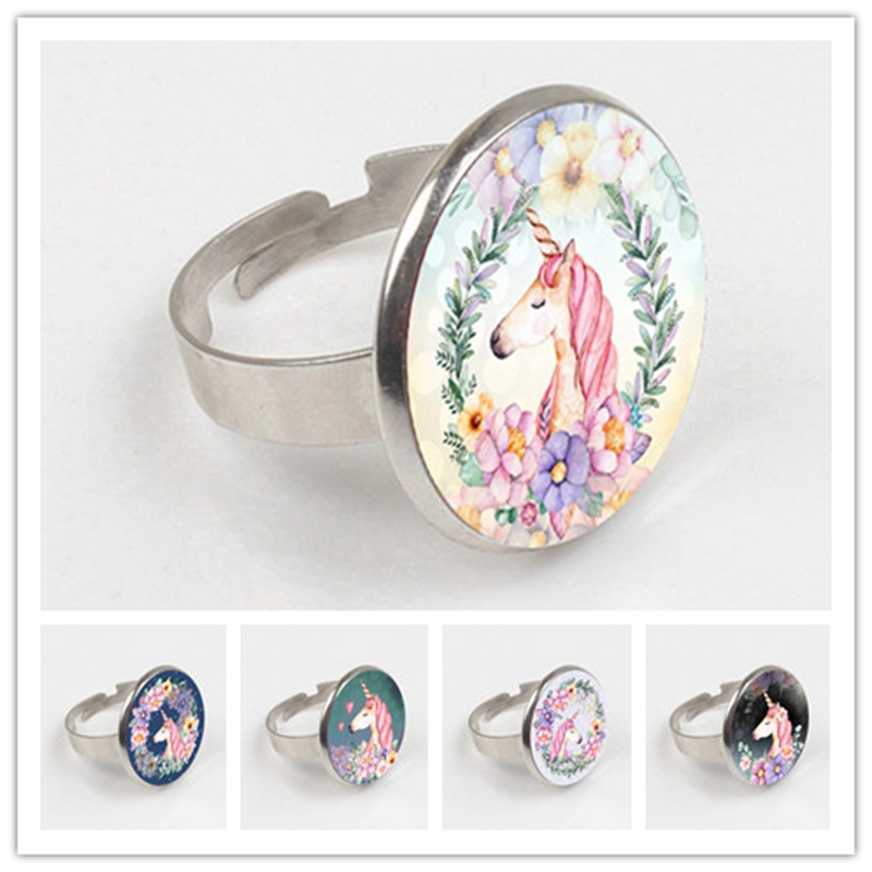 2019 Cute Unicorn Vintage ring Antique ring Glass Bullion Pendant ring Female Vintage Handmade Jewelry Gift in Rings from Jewelry Accessories