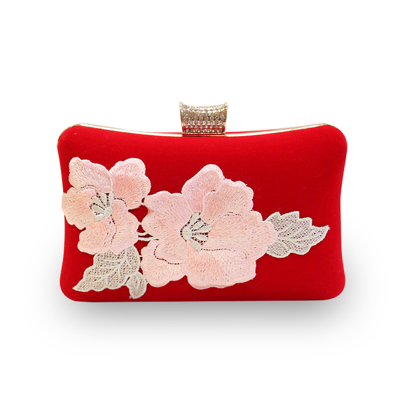 Mrs win Women Satin beautiful Flowers Party Wedding Bridal Shoulder Handbags Purses Metal Clutches Evening Clutch Bags YHB120