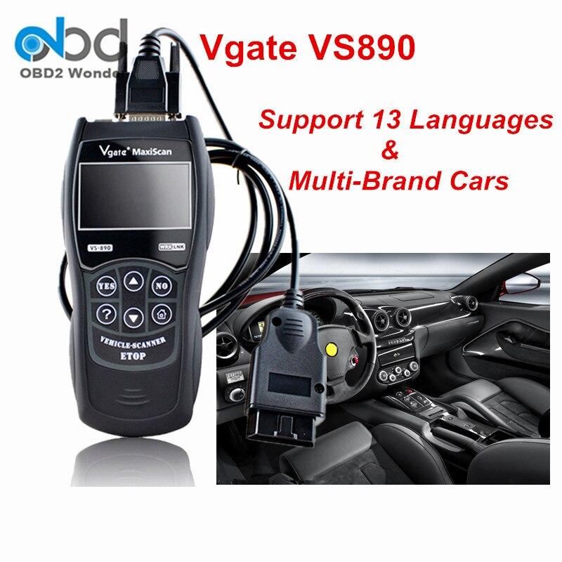 Цена за Новинка 2017 года Дизайн диагностический инструмент Vgate VS890 автомобиль код читателя MaxiScan VS890 OBD2 сканер Поддержка multi-бренды Бесплатная доставка