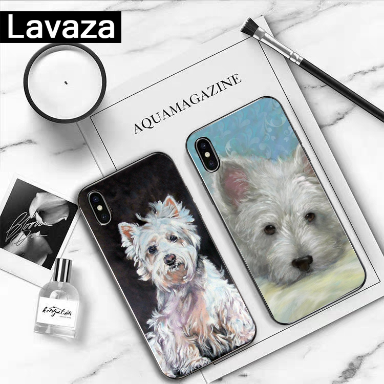 Lavaza cartoon Westie dog Rubber Silicone Case for iPhone 5 5S 6 6S 7 8 11 Pro Plus X XR XS Max in Fitted Cases from Cellphones Telecommunications