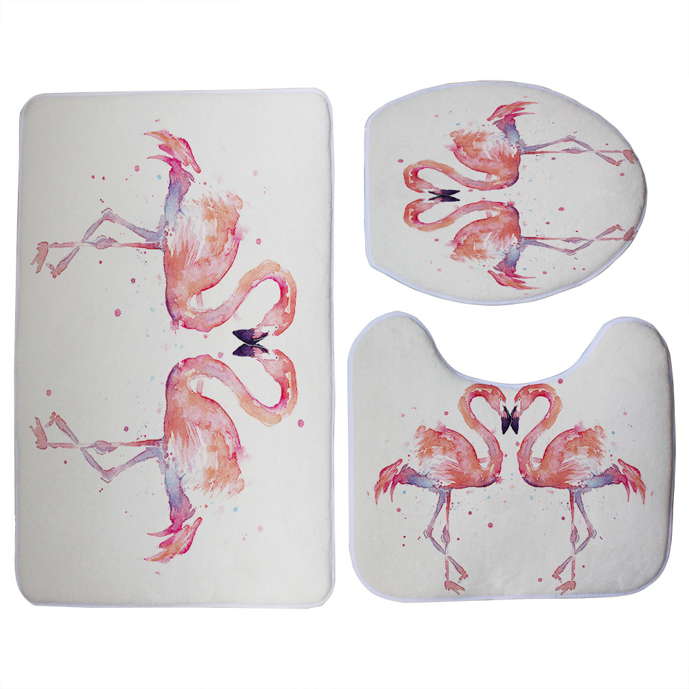 Tremendous Us 12 83 28 Off Miracille Pink Flamingo Pattern 3 Pieces Bathroom Set Toilet Seat Cover U Shaped Rug Coral Fleece Bath Accessories Small Carpet In Short Links Chair Design For Home Short Linksinfo