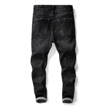 Dżinsy męskie 2018 męskie czarne dżinsy Skinny Slim Fit Stretch Denim na co dzień wysokiej jakości spodnie spodnie biznesowe dla mężczyzn chłopców dżinsy tanie tanio Mężczyźni Jeans Smart Casual Jkitari Bleach Mycia Kamienia Enzym prania light Pełnej długości Black stretch men s jeans