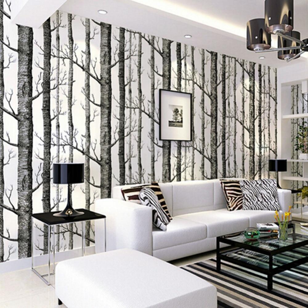 Popular birch tree wallpaper buy cheap birch tree for Tree wallpaper living room