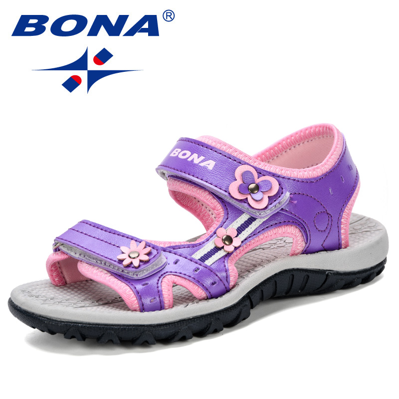 BONA 2019 New Fashion Style Girls Sandals Floral Beach Shoes For Kids Super Soft Sweet Children Sandals Comfortable Anti-kick