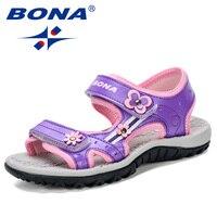 BONA 2019 New Fashion Style Girls Sandals Floral Beach Shoes For Kids Super Soft Sweet Children Sandals Comfortable Anti kick