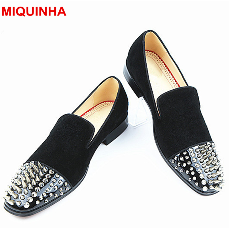 MIQUINHA Round Toe Rivets Embellished Men Casual Shoes Slip On Lazy Shoes Loafers Leather Low Top Flats Driving Moccasins Stars hot high quality men loafers leather round toe slip on casual shoes man flats driving shoes hombre zapatos comfortable moccasins