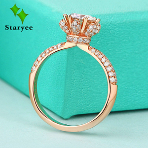 Image 1 - אמיתי צ ארלס Colvard Moissanite אירוסין טבעת לנשים 1 קרט VS G צבע מוצק 14 k 585 רוז זהב מדומה יהלומי מבטאים