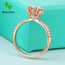 Verdadeiro Charles Colvard Moissanite Anel de Noivado Para As Mulheres 1 Quilates VS G Cor Sólida 14 k 585 Ouro Rosa Simulado diamante Acentos