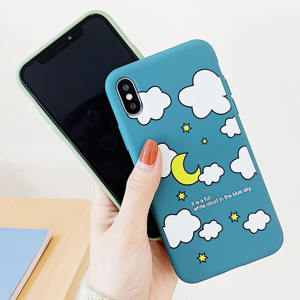 KIPX1114_2_JONSNOW Matte Phone Case for iPhone XS Max X XR Cases White Clouds Pattern Soft Silicone Cover for iPhone 6 6S 6P 7 8 Plus