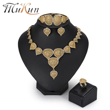 MuKun Dubai bead Bridal Jewelry Sets Gold Color Crystal fashion Women Turkish Costume set 2018 New Arrivals