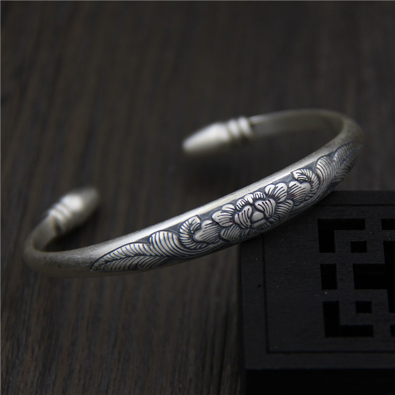 C&R Real 999 Sterling Silver bangles for women bracelet Retro Female Carved Peony Thai Silver Birthday Gift Fine JewelryC&R Real 999 Sterling Silver bangles for women bracelet Retro Female Carved Peony Thai Silver Birthday Gift Fine Jewelry